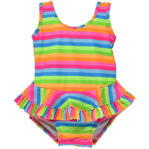 Flap Happy Neon Stripe UPF 50+ Stella Infant Ruffle Swimsuit