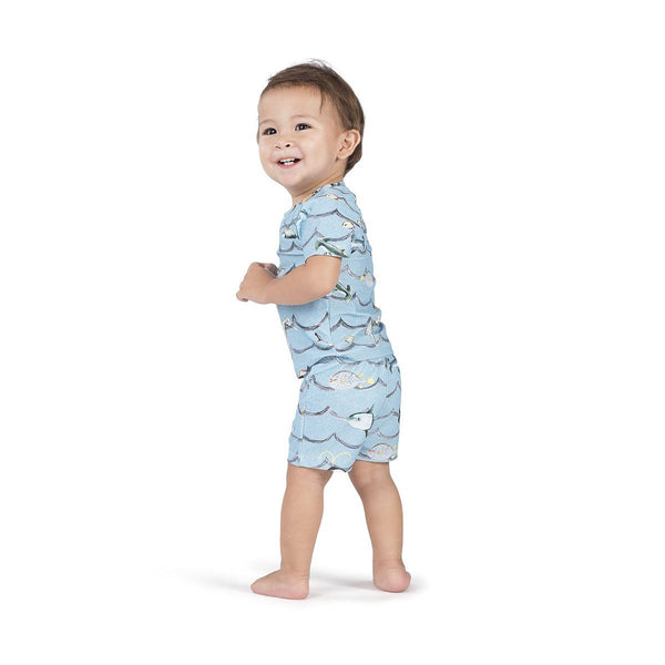 Little Wings by Paper Wings Waves Short Sleeve Rash Guard Swimsuit Set