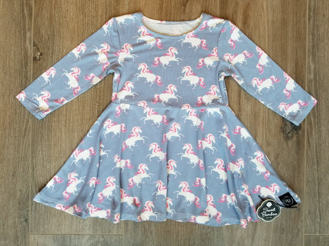 Sweet Bamboo Swirly Girl Unicorn Dress