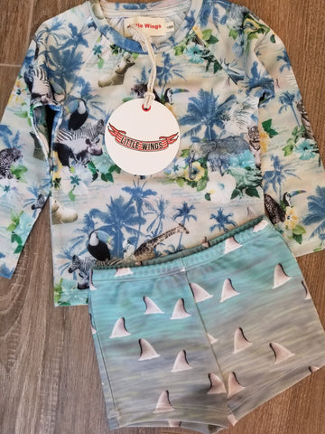 Little Wings by Paper Wings Long Sleeve Dolphins and Sharks Rash Guard Swim Set