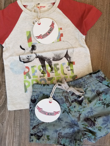 Little Wings Love Respect Protect Rhino T-Shirt and Hawaiian Print Shorts Set