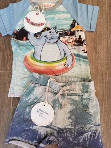 Little Wings Happy Snapper Hippo T-Shirt and Hello Palms Shorts Set