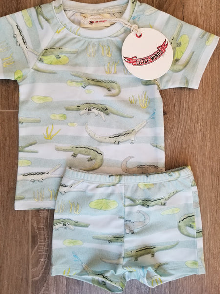 Little Wings by Paper Wings Alligator Short Sleeve Rash Guard Swimsuit Set