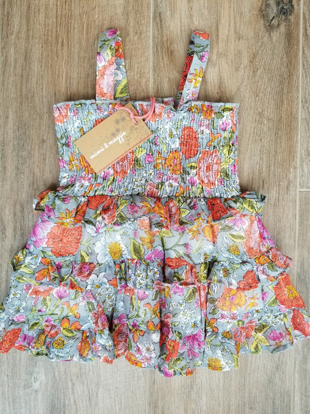 Mimi & Maggie Peony Flower Devon Dress & Diaper Cover