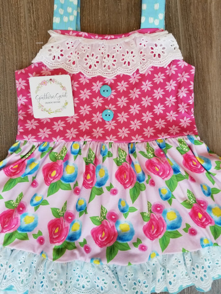 Girls Floral & Eyelet Trim Twirly Dress