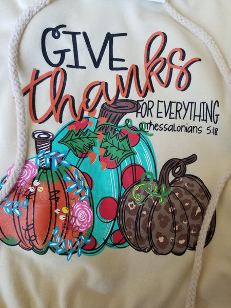 "Mommy & Me Girls ""Give Thanks For Everything"" Hooded Long Sleeve Shirt"