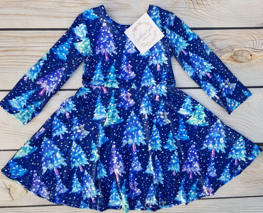 Girl's Blue Christmas Tree Snow Dress