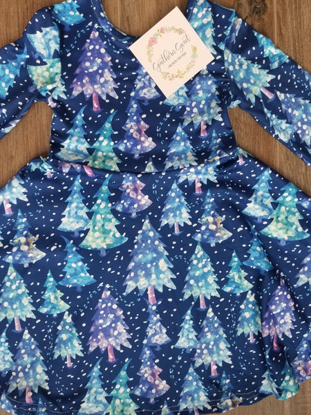 Blue Christmas Tree Snow Dress