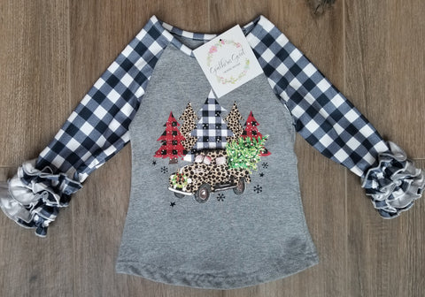 Black and White Buffalo Plaid Christmas Tree Raglan Tee