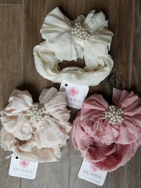 In Awe Couture Pearl Ruffled Headbands