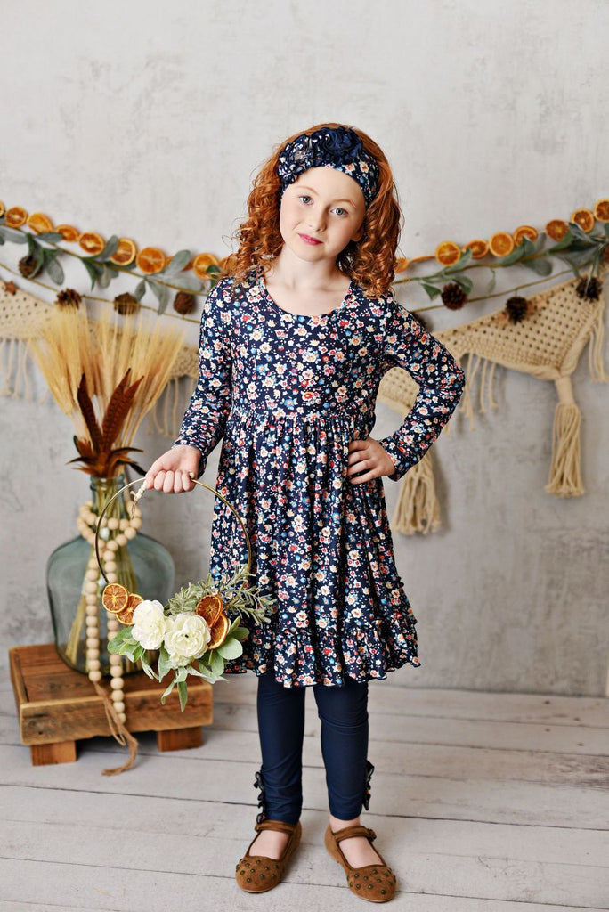 Serendipity Harvest Fields Navy Bloom Butter Knit Dress with Legging Style 20-35