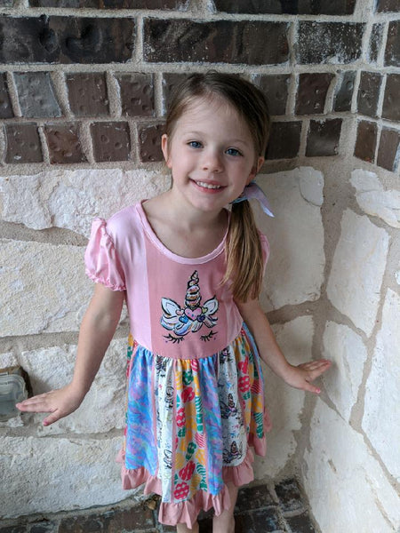 Girls Easter Easter Egg Tie Dye Unicorn Twirl Dress