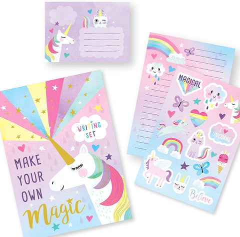 Jewelkeeper Rainbow Unicorn Design Writing Kit with Gold Foil, Girls Stationery Paper Letter Set, Stickers, Envelope Seals