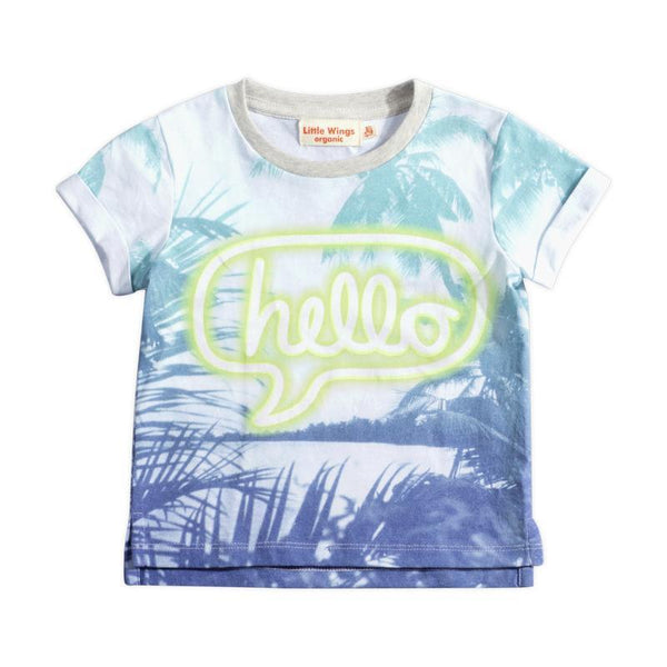 Little Wings Hello Cuff T-Shirt and Boys Hawaiian Print Shorts Set