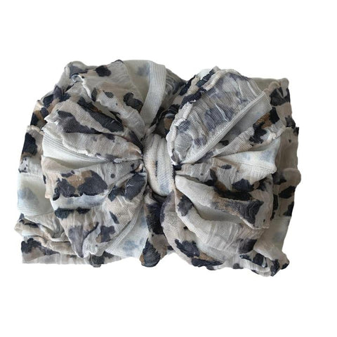In Awe Couture Leopard White Ruffled Headband