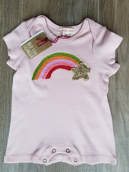 Mimi and Maggie Pink Rainbow Star Embroidery Romper