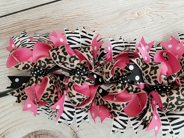 "Bows - 7x4.5"" Girls Animal Print Hair Bow"
