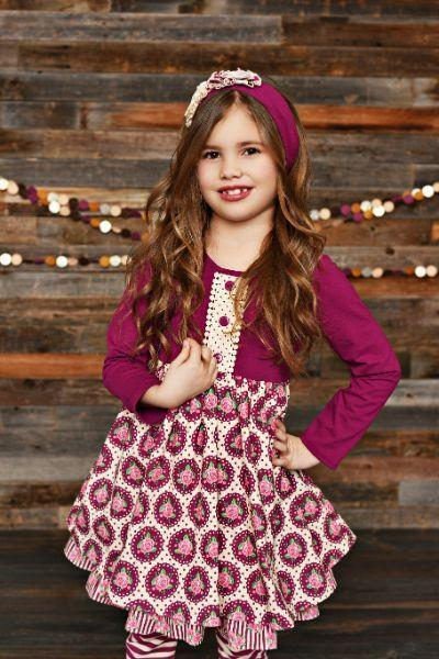 Serendipity Sugarplum Ruffle Dress With Stripe Legging Style 19-03