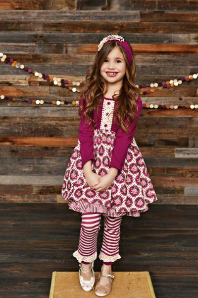 Sets - Serendipity Sugarplum Ruffle Dress With Stripe Legging Style 19-03