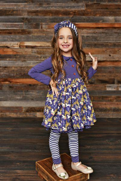 Serendipity Unicorn Meadow Dress With Stripe Legging Style 19-22