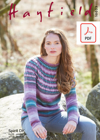 Hayfield 10033 Ladies Sweater in Hayfield Spirit DK (PDF) Knit in a Box