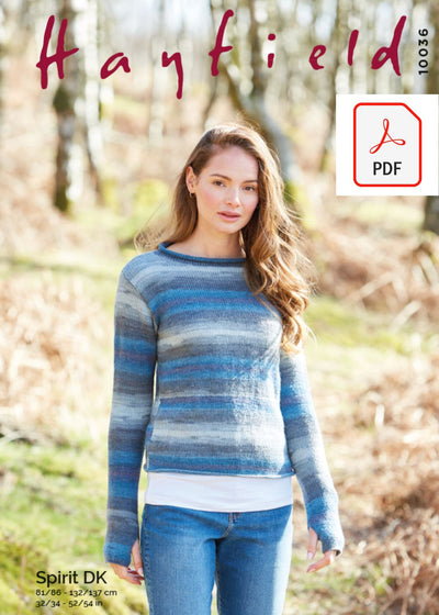 Hayfield 10036 Ladies Sweater in Hayfield Spirit DK (PDF) Knit in a Box