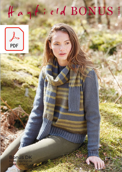 Hayfield 10044 Ladies Sweater & Scarf in Bonus DK (PDF) Knit in a Box