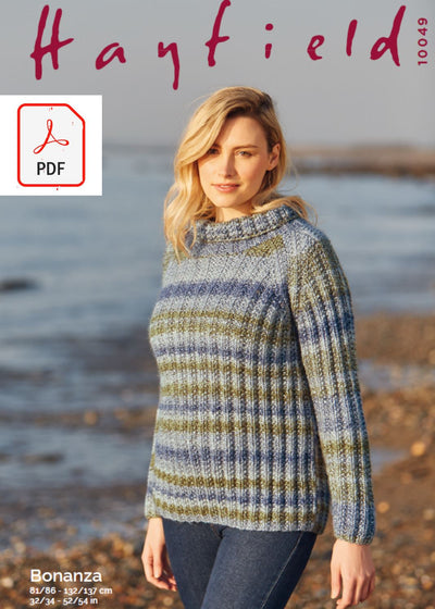 Hayfield 10049 Ladies Sweater in Hayfield Bonanza (PDF) Knit in a Box