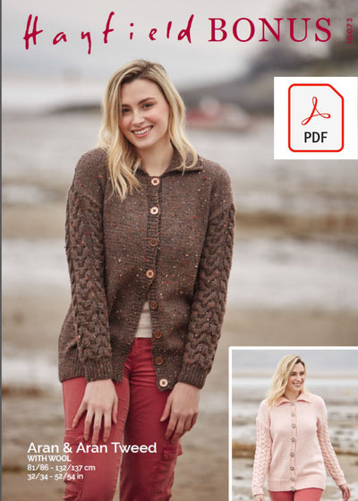 Hayfield 10073 Lady Cardigan in Hayfield Bonus Aran & Bonus Aran Tweed (PDF) Knit in a Box