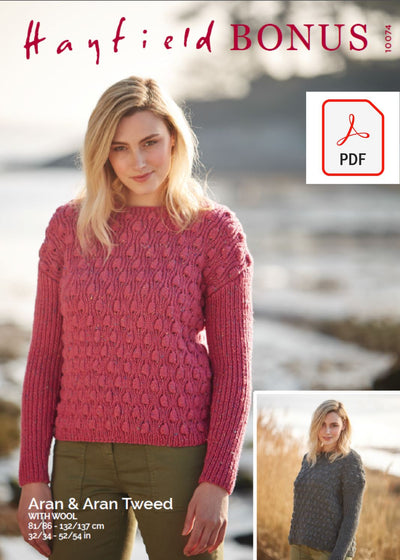 Hayfield 10074 Ladies Sweater in Bonus Aran & Bonus Aran Tweed with Wool (PDF) Knit in a Box