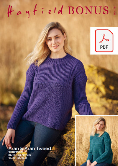 Hayfield 10076 Ladies Sweater in Bonus Aran & Bonus Aran Tweed with Wool (PDF) Knit in a Box