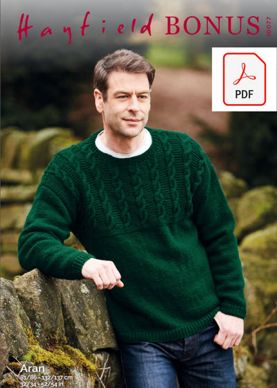 Hayfield 10077 Man Sweater in Hayfield Bonus Aran (PDF) Knit in a Box