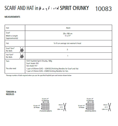 Hayfield 10083 Scarf & Hat in Hayfield Spirit Chunky (PDF) Knit in a Box