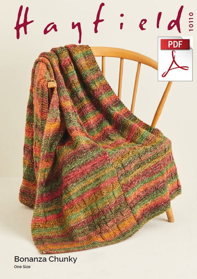 Hayfield 10110 Throw in Bonanza Chunky (PDF) Knit in a Box