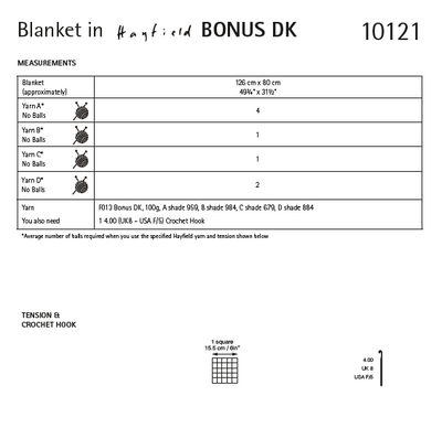 Hayfield 10121 Crochet Blanket in Bonus DK (PDF) Knit in a Box