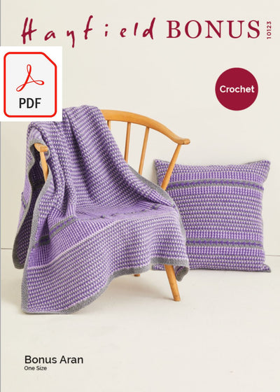 Hayfield 10123 Crochet Blanket & Cushion in Bonus Aran (PDF) Knit in a Box