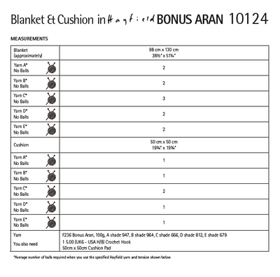 Hayfield 10124 Crochet Blanket & Cushion in Bonus Aran (PDF) Knit in a Box