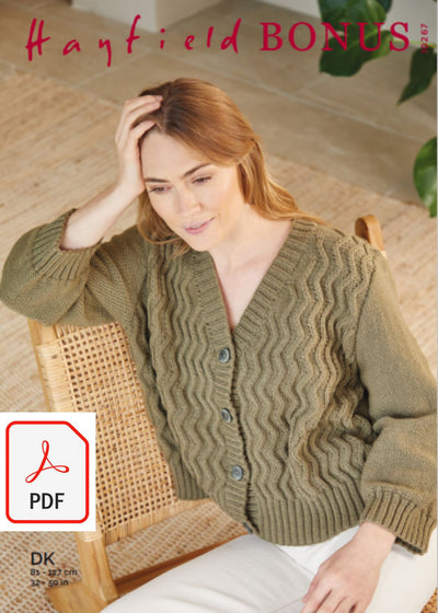 Hayfield 10267 Cardigan in Bonus DK (PDF) Knit in a Box