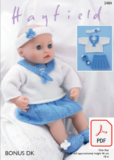 Hayfield 2484 Baby Dolls Sailor Top, Skirt, Pants, Schoe´s and Headband in Bonus DK (PDF) Knit in a Box