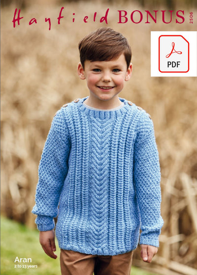 Hayfield 2506 Children Sweater in Hayfield Bonus Aran (PDF) Knit in a Box