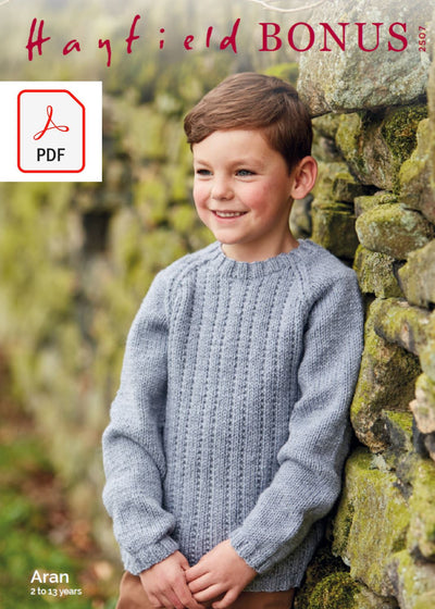 Hayfield 2507 Children Sweater in Hayfield Bonus Aran (PDF) Knit in a Box