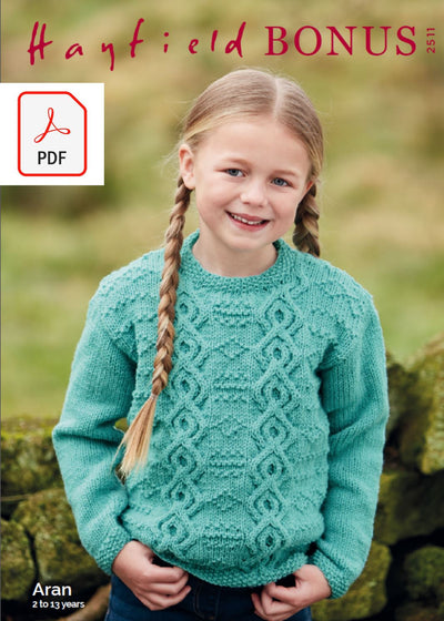Hayfield 2511 Children Sweater in Hayfield Bonus Aran (PDF) Knit in a Box