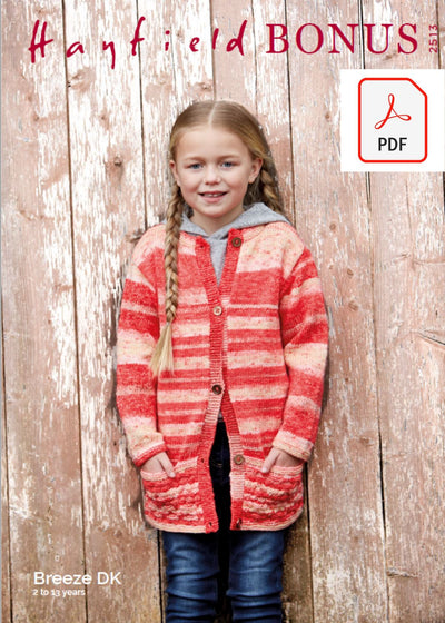 Hayfield 2513 Girl Jacket in Hayfield Bonus Breeze DK (PDF) Knit in a Box