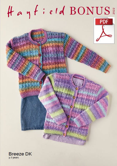 Hayfield 2522 Children Cardigans in Bonus Breeze DK (PDF) Knit in a Box