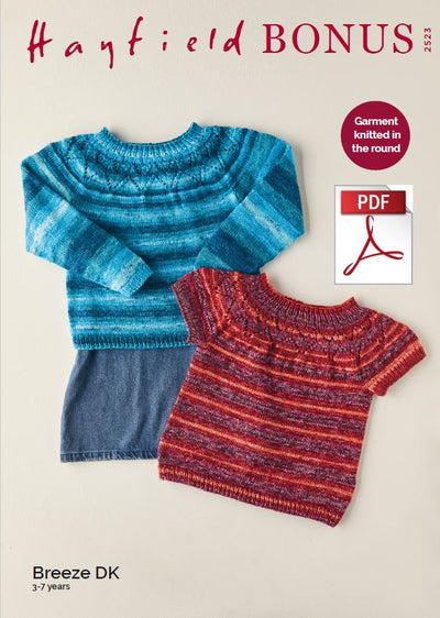 Hayfield 2523 Children Sweater in Bonus Breeze DK (PDF) Knit in a Box