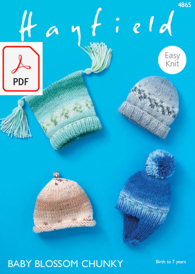 Hayfield 4865 Hats in Baby Blossom Chunky (PDF) Knit in a Box