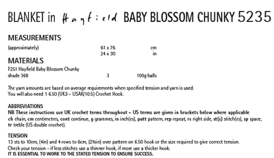 Hayfield 5235 Crochet Blanket in Baby Blossom Chunky (PDF) Knit in a Box