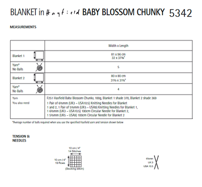 Hayfield 5342 Blanket in Hayfield Baby Blossom Chunky (PDF) Knit in a Box