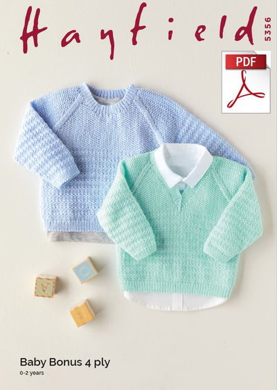 Hayfield 5356 Babie Round & V Neck Sweater in Baby Bonus 4 Ply (PDF) Knit in a Box