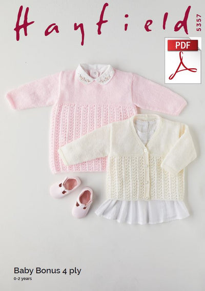 Hayfield 5357 Babie Dress & Cardigan in Baby Bonus 4 Ply (PDF) Knit in a Box